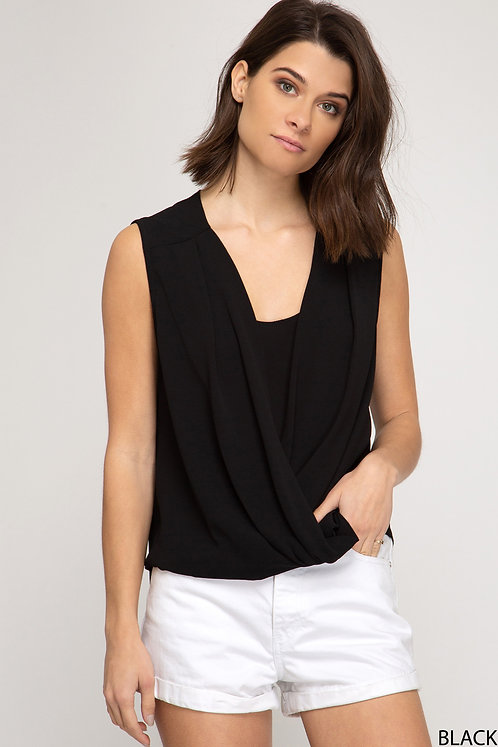 SHE AND SKY SLEEVELESS SURPLICE WOVEN TOP
