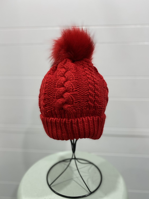 RED CABLE KNIT TOQUE WITH RED POMPOM