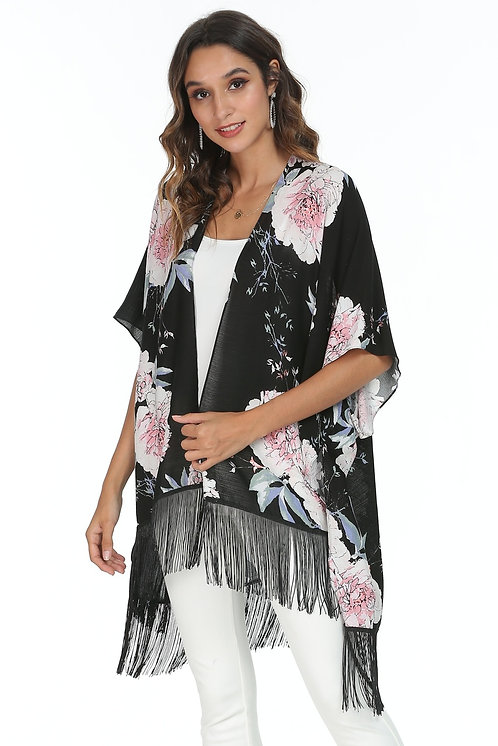 WELLCO KIMONO BLACK WITH FLOWERS TASSELS