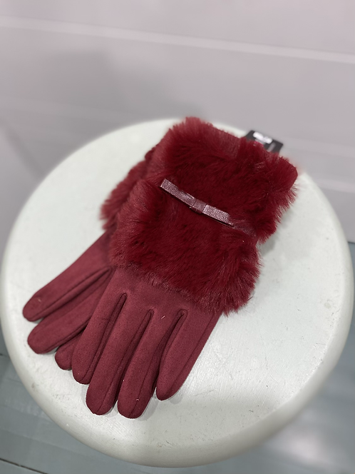 MEMORIES FURRY RED TEXTING GLOVES
