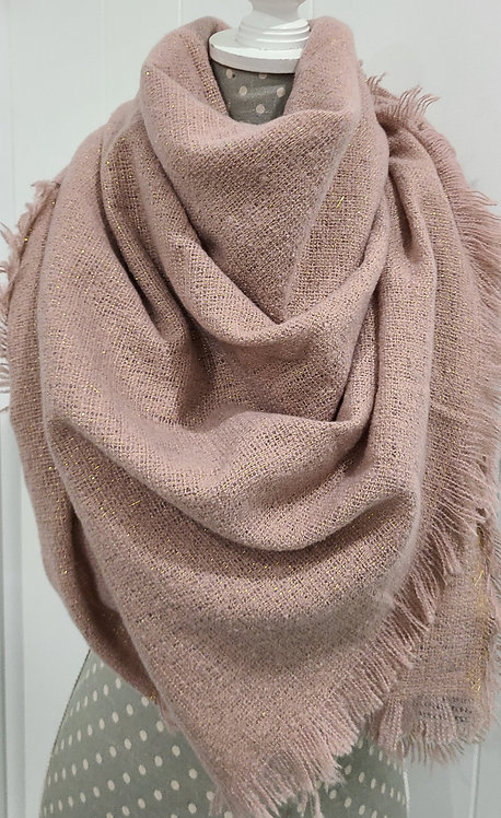 PINK WITH GOLD THREAD SCARF