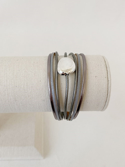 CARACOL MAGNETIC WRAP BRACELET GREY WITH SILVER STONE