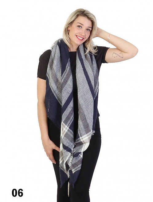 GRAND PLAID NAVY BLANKET SCARF