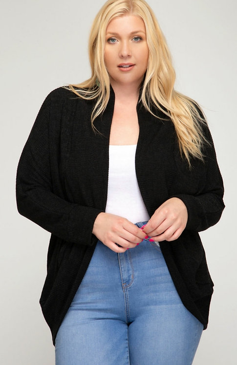 SHE AND SKY LONG SLEEVE BATWING OPEN FRONT CARDIGAN