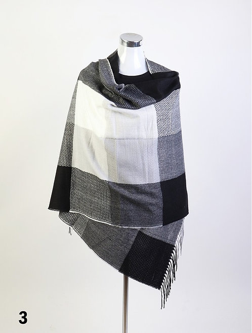 GRAND BLANKET SCARF BLACK WITH FRINGE