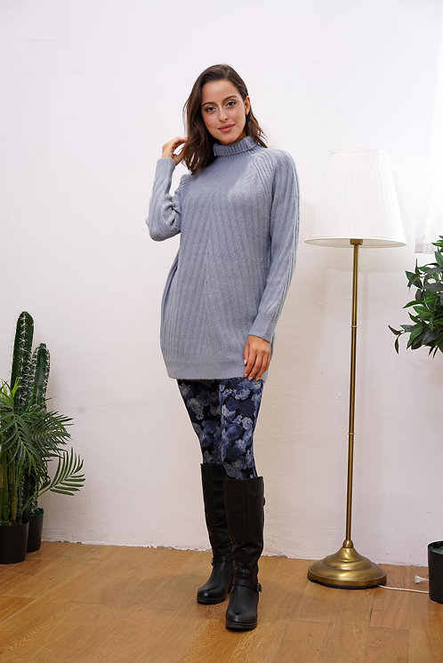 SOFT KNIT NECK TUNIC SWEATER SOFT BLUE