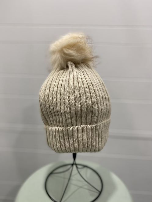 CREAM SPARKLE TOQUE WITH CREAM POMPOM