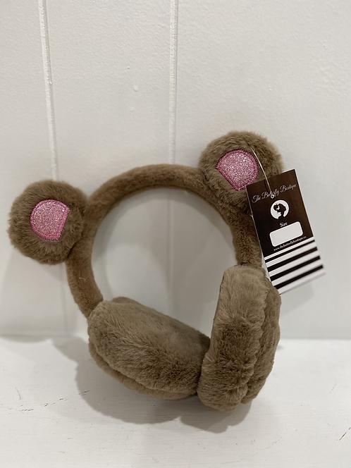 KIDS BEAR EARMUFFS BROWN