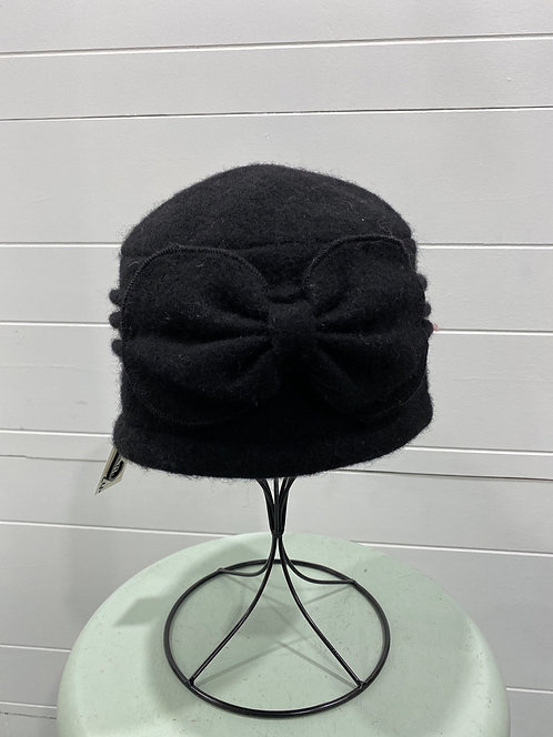 PICABO BLACK FELTED HAT WITH FRONT BOW