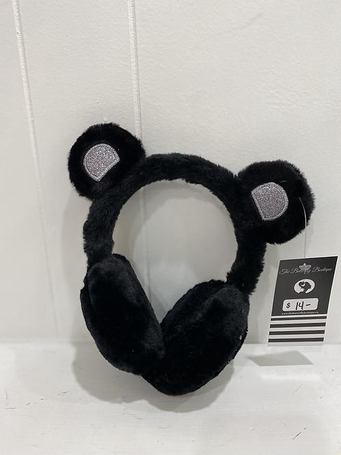 KIDS BEAR EARMUFFS BLACK