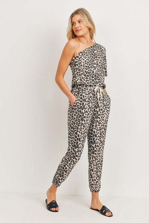 CHERISH LEOPARD ONE SHOULDER JUMPSUIT