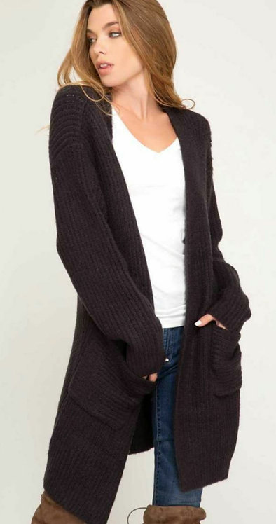 SHE AND SKY FRONT OPEN CARDIGAN WITH POCKETS