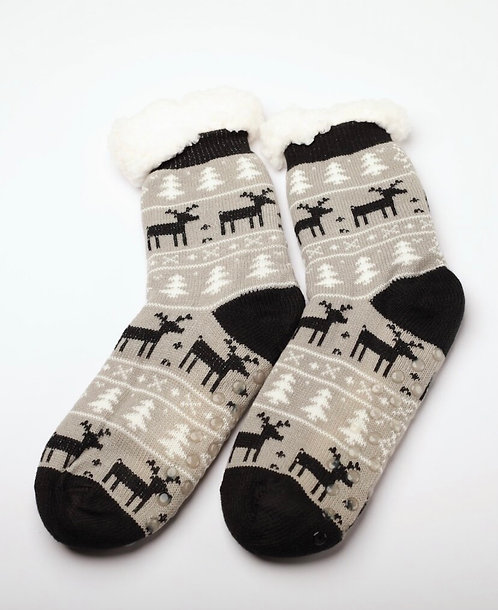FUZZY SOCK SLIPPERS BLACK AND GREY