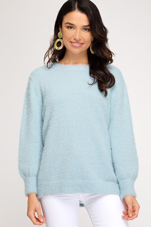 SHE AND SKY BUBBLE FUZZY SWEATER BLUE