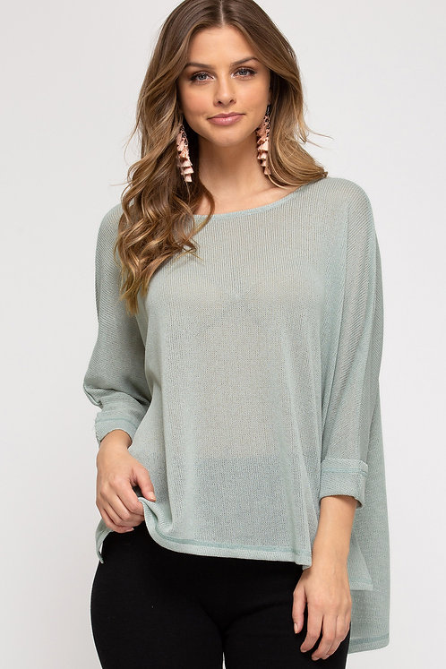 SHE & SKY SEAFOAM 3/4 Sleeve Top