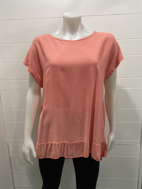 BEYOND CAPRI MADE IN ITALY CORAL PINK TOP HIGH LOW
