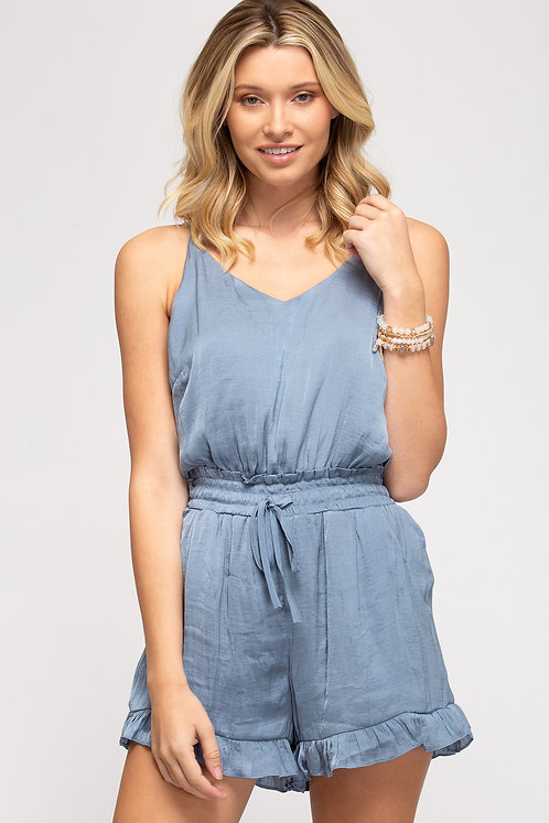SHE AND SKY WOVEN CAMI ROMPER WITH SMOCKED WAIST AND POCKETS