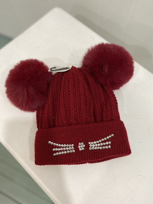 RED DOUBLE POMPOM KIDS HAT