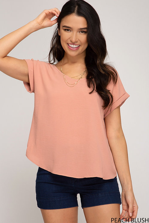 SHE AND SKY TOP WITH BACK LACE DETAIL PEACH BLUSH
