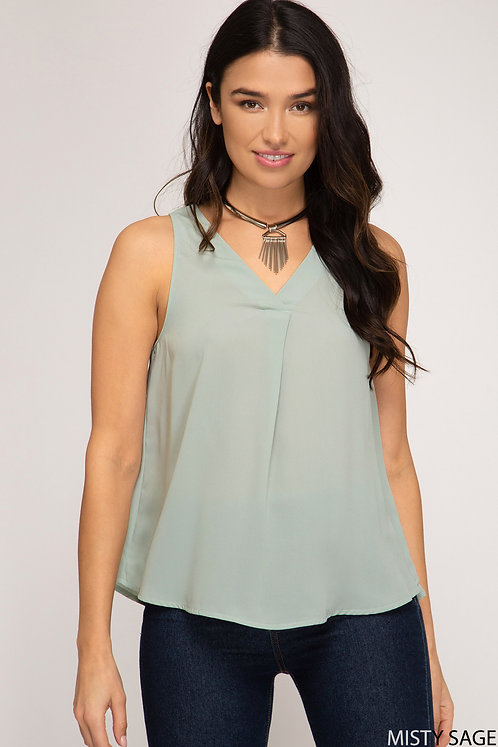 SHE AND SKY WOVEN TOP WITH FRONT PLEAT MISTY SAGE