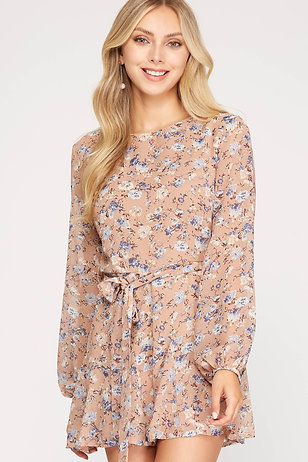 SHE AND SKY DUSTY ROSE LONG SLEEVE ROMPER