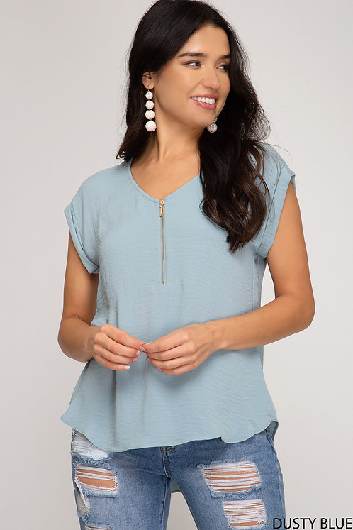 SHE AND SKY DUSTY BLUE TEE WITH FRONT ZIPPER
