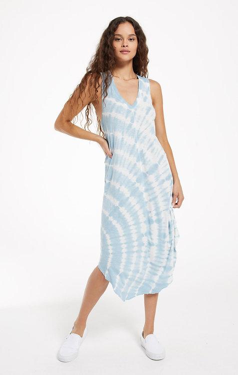 Z SUPPLY REVERIE SPIRAL TIE-DYE DRESS BLUE