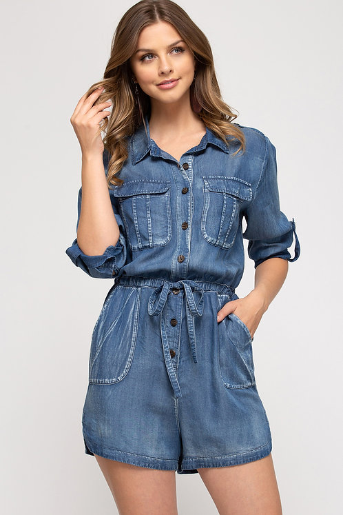 SHE & SKY  CHAMBRAY BUTTON UP ROMPER WITH POCKETS
