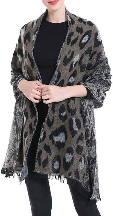 WELLCO ANIMAL PRINT SCARF GREY