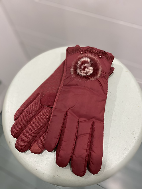 WELLCO RED LINED TEXTING GLOVES WITH FURRY BALL