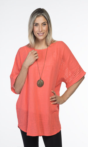 CHERISHH CORAL TOP WITH CUT WORK PATTERN