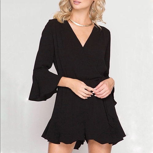 SHE AND SKY BLACK ROMPER WITH BELL SLEEVE