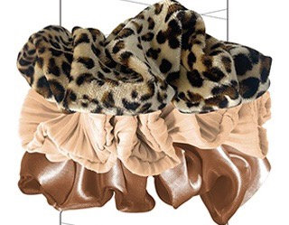 3 PACK MIXED TEXTURE ANIMAL PRINT SCRUNCHIES BROWN