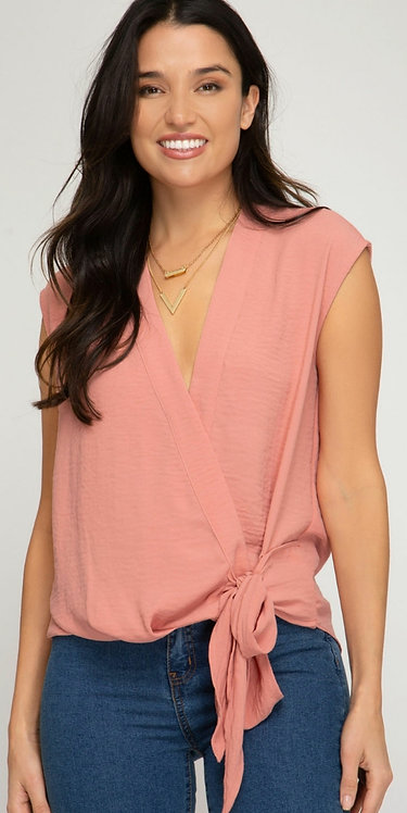 SHE AND SKY SLEEVELESS TOP WITH SIDE TIE DETAIL