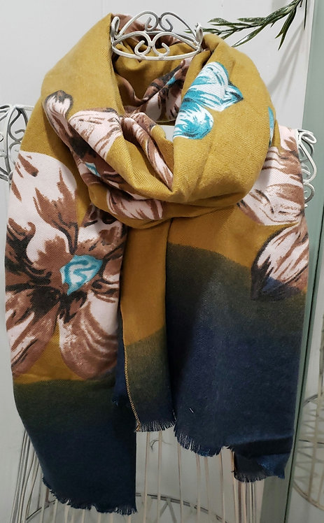 PICABO MUSTARD FLORAL SCARF WITH BLUE