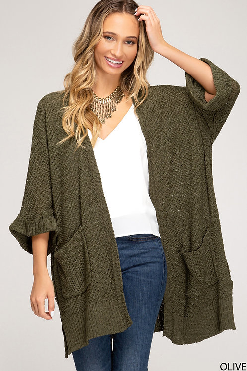 SHE AND SKY OLIVE CARDIGAN