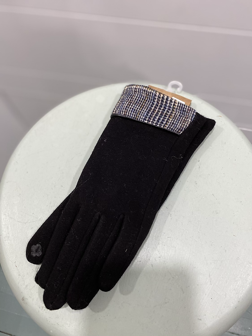WELLCO BLACK TEXTING GLOVES WITH PLAID TOP