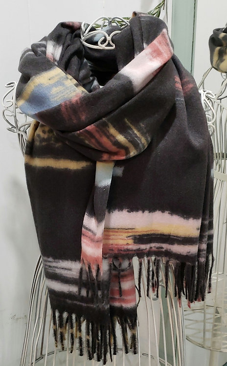 PICABO DARK GRAY MULTI COLOURED SCARF WITH FRINGE