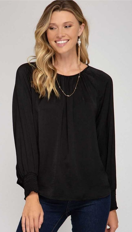 SHE AND SKY SMOCKED CUFF SATIN FEEL TOP