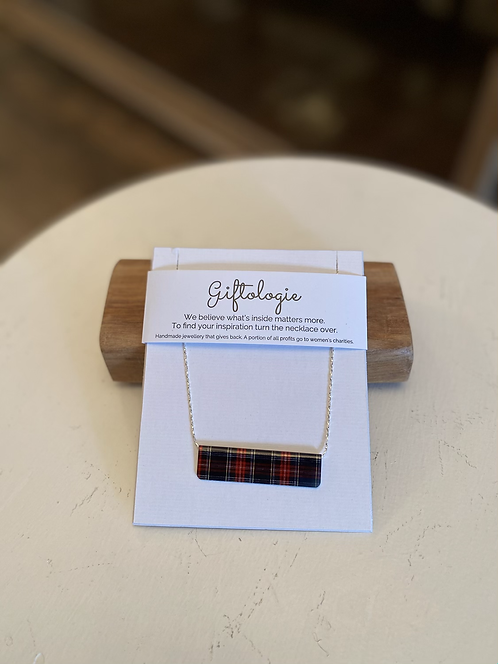 GIFTOLOGIE SILVER MAD FOR PLAID REVERSIBLE BAR NECKLACE