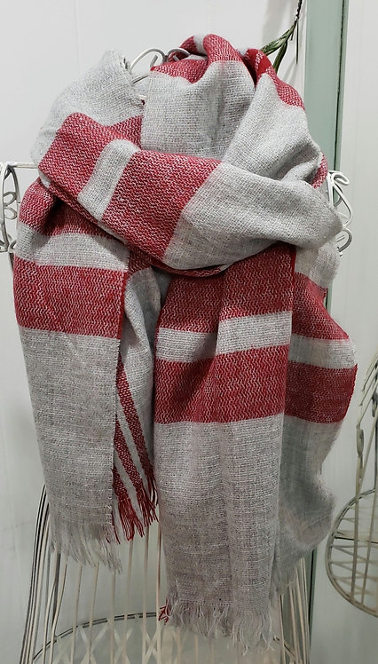 BY CHANCE GRAY AND RED PLAID SCARF