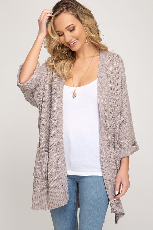 SHE & SKY CARDIGAN WITH POCKETS GREY