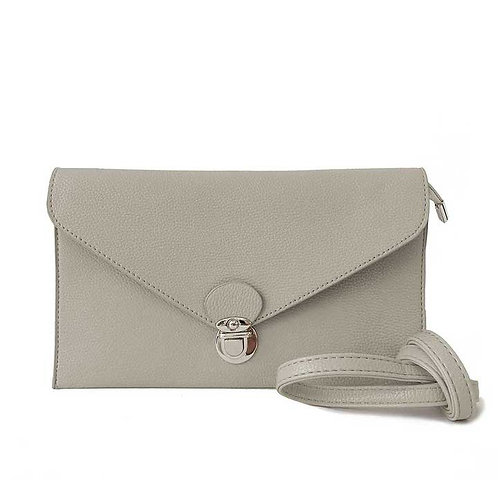 CARACOL RECTANGLE CROSS BODY CLUTH LIGHT GREY