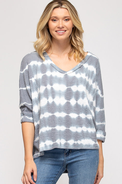 SHE & SKY 3/4 CUFF SLEEVE THERMAL KNIT TIE DYED HI LOW TOP