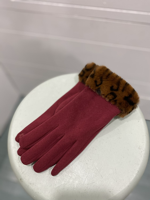 CHEIREE BLISS BURGUNDY TEXTING GLOVES LEOPARD