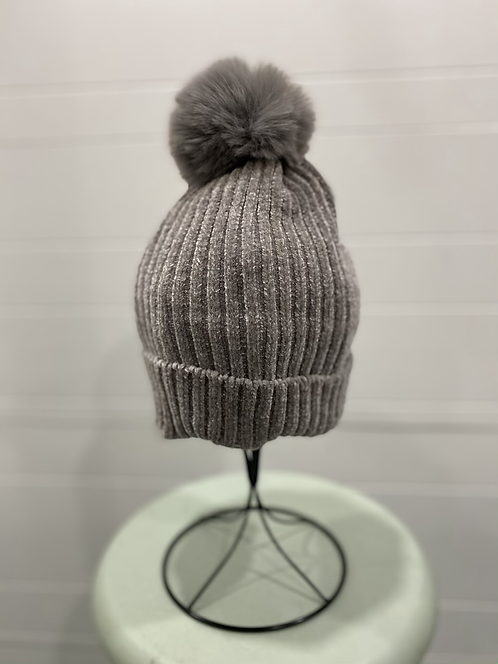 GREY CHENILLE TOQUE