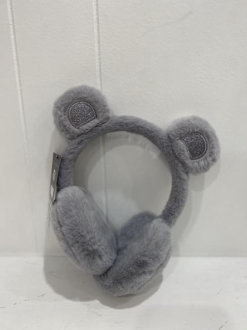 KIDS BEAR EARMUFFS GREY