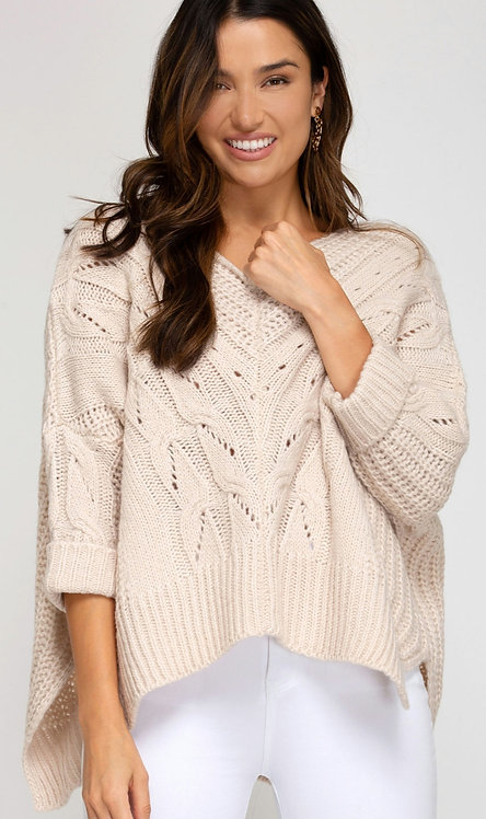 SHE AND SKY HIGH LOW CABLE KNIT SWEATER