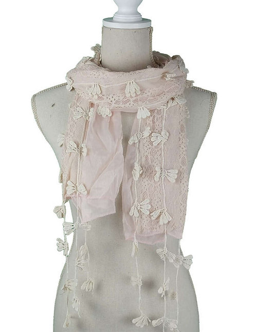 WELLCO PINK AND CROCHET LACE SCARF