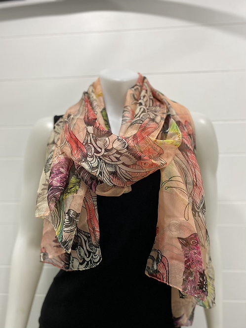 PICABO PINK BIRD SCARF